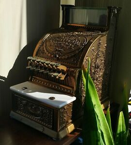 Antique National Cash Register Co Model 313 Candy Store Brass Cash Register