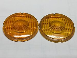 Nos Pair Glass Amber Yankee Vintage Turn Lamp Light Lens Signal Light 4 7 16 4