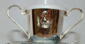Nib 2 Handled Silver Plate Baby Sippy Cup With Plastic Removable Lid Hong Kong