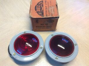 Pair Nib Marker Light Dietz No 47 Red Glass 6 Volt Vintage Truck Travel Trailer