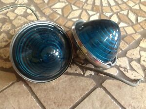 Rare Pair Clearance Marker Light Kd 542 Nos Blue green Glass Vintage Trailer