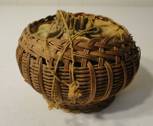 Vintage Antique Small 6 Round Drawstring Top Sewing Basket Box Cloth