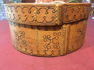 19th C Norwegian Pokerworked Wood Covered Container