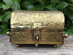 Old Vintage Anglo Indian Islamic Small Brass Casket Table Top Keepsake Box