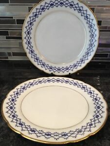 Large Pair Antique Elegant Early 19c Russian Porcelain Plates By Kornilov