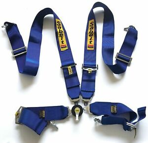 Universal Sabelt Blue 4 Point Camlock Quick Release Racing Seat Belt Harness 3 W
