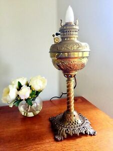 Solid Brass Vintage Bradley Hubbard Parker Style Parlor Lamp Converted Electric