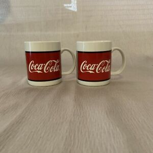 Coke Coca-Cola Mugs Ceramic lot of 2 by Gibson 1997