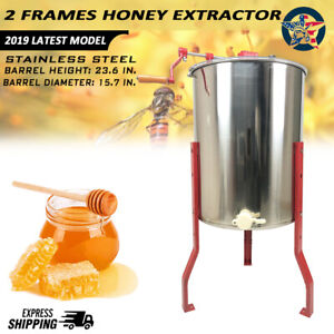 4 Frames Stainless Steel Manual Honey Extractor W Holder Beekeeping Equipment