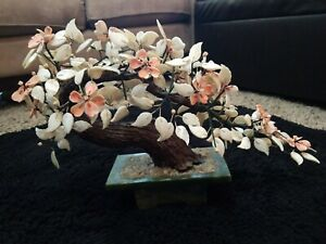 Vintage Rare Chinese Mother Of Pearl Bonsai Flowering Tree Jade Pot 20 X13