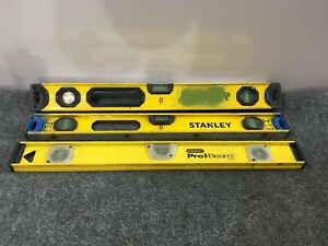 Lot Of 3 Used Stanley Yellow Levels Pro I Beam