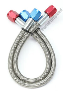Pair 2 4an Braided Nitrous Feed Lines Hoses 12 Inch Teflon Core Made In Usa