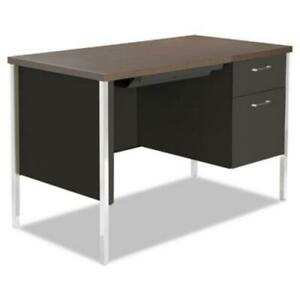 Alera Alesd4524bm Single Pedestal Steel Desk Metal Desk 45 1 4w X 24d X