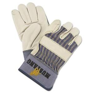 R3 Safety 1935l Mustang Leather Palm Gloves Blue cream Large 12 Pairs