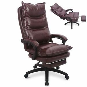 Ergonomic Executive Pu Leather Office Desk Sofa Chair W Lumbar Support Footrest