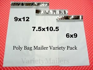 50 Poly Bag Mailer Assortment 6x9 7 5x10 5 9x12 Self sealing Envelope Bags
