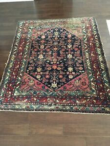 Antique Distressed Hand Knotted 5 X 6 Oriental Turkish Persian Style Wool Rug