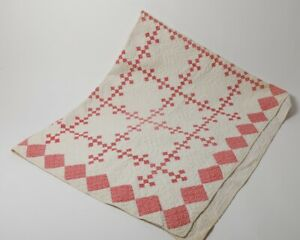 Antique 9 Patch Pattern Quilt Hand Pieced Patchwork White Pink Circa 1900