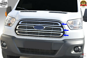 Ford Transit 2014 2018 Chrome Front Bumper Grille Cover 3 Pcs Stainless Steel