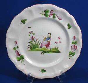 Early Soft Paste Staffordshire Hand Painted Plate Fishing Asian Man