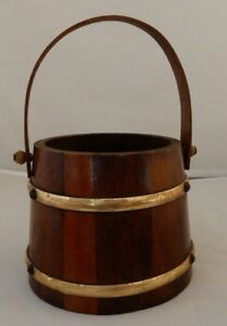 Small Wooden Firkin Syrup Bucket Dark Wood Tone W Gold Trim Swing Peg Handle