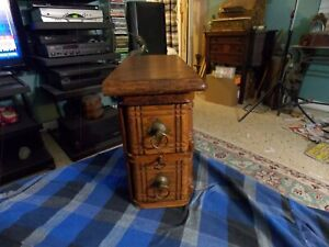 Antique Singer Sewing Machine Oak Wood 2 Drawer Cabinet W Key Vg