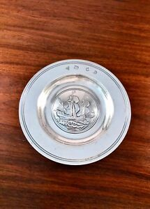 Garrard Co English Solid Sterling Silver Magnum Bottle Coaster Ship Boat