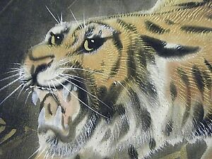 Pair Vtg 1950s Chinese Tiger Paintings On Black Silk Artist Signed Gold Paint