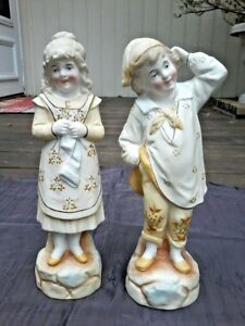 Large Bisque Pair Figurines Statues Boy Girl