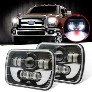 Pair 5x7 7x6 Led Headlight Hi lo Drl Light For Chevrolet Express 1500 2500 3500