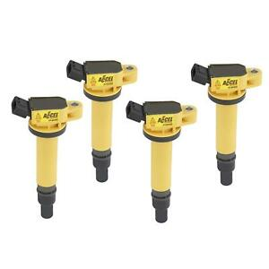 Accel 140495 4 Coil Super Coil Pack Style Socket Yellow Scion Set Of 4