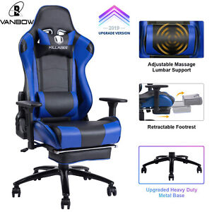 Killabee Big And Tall 350lb Massage Memory Foam Gaming Chair Office Chair Blue