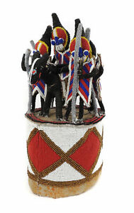 Yoruba Beaded Crown King On Horse And Four Guardians African Art