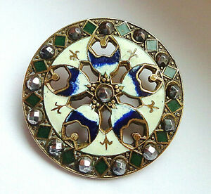 Lg Antique Enamel Button Pierced W Cut Steels 1 1 4