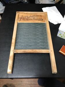 Vintage Rare Antique Atlantic No 510 National Glass Wood Washboard Ribbed Glass