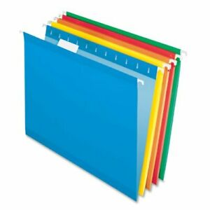 Pendaflex Color Hanging Folder Letter 8 50 X 11 1 5 Tab Cut Blue Red