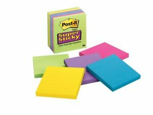 Post it Super Sticky Lined Jewel Pop Coll Notes Self adhesive 4 X 4