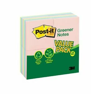 Post it Sunwashed Greener Recycled Pads Valupak Self adhesive Removable