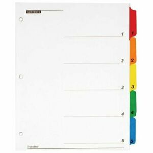 Cardinal Quickstep Onestep Printable Table Of Contents Dividers 5 X Divider