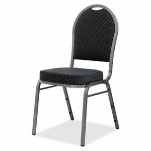 Lorell Upholstered Textured Fabric Stacking Chair Fabric Gray Seat Fabric