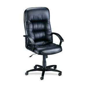 Lorell Tufted Leather Executive High back Chair Leather Black Seat Back