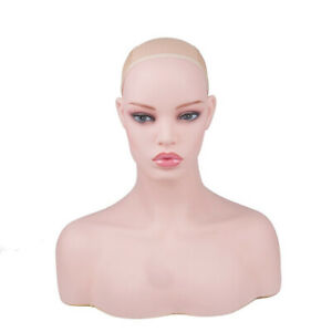 New Realistic Women Mannequin Head Display Wig Hat Glasses Necklace Model Db496