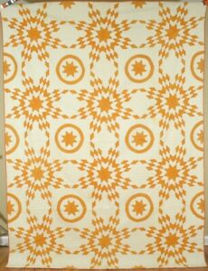 Magnificent Vintage 1880 S Cheddar Yellow White Stars Circles Antique Quilt