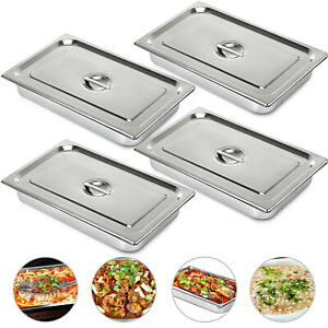 Steam Table Pans Bain marie 4 Pack W cover Lid Light Gauge Chafing Dish Buffet