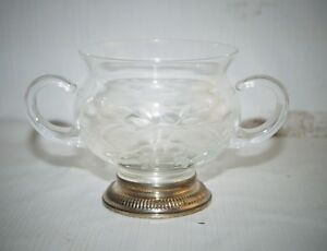 Delicate Antique Etched Crystal Glass Sugar Bowl Sterling Silver 925