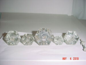Lot 5 Reclaimed Vintage Hexagon 6 Sided Drawer Pulls Cupboard Knobs In 3 Sizes
