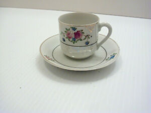 Demitasse Cup Saucer Made In Occupied Japan Floral Pattern Hand Painted