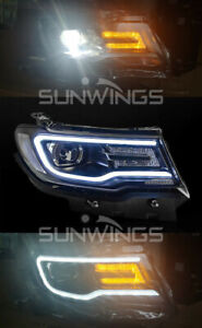 For Jeep Compass 2018 Headlights Assembly Bi Xenon Lens Double Beam Hid Kit