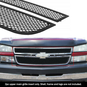 Fits 2006 Chevy Silverado 1500 05 06 2500hd Main Stainless Black Mesh Grille