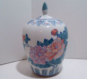 Chinese Ceramic Flowers Large 11 1 2 X 7 Ginger Jar With Lid